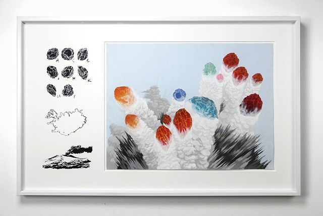 iceland, eyjafjallajokull, holuhraun, shawn bitters, screenprinting, drawing, volcanic bombs,