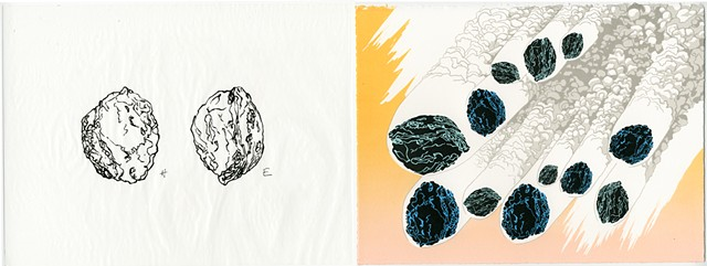 Shawn Bitters, Screen Printing, Prints, volcanic bombs, iceland, katla