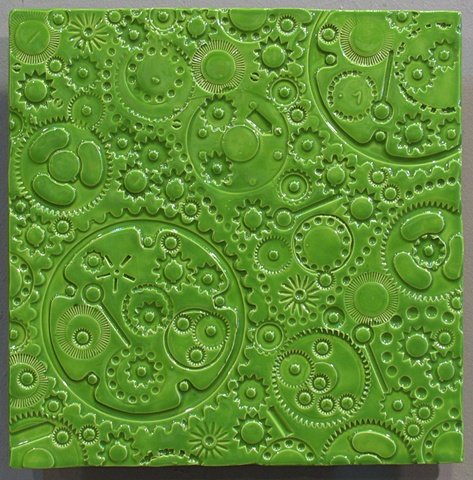 "SOLD Apple Green Gears - 12""x12"""