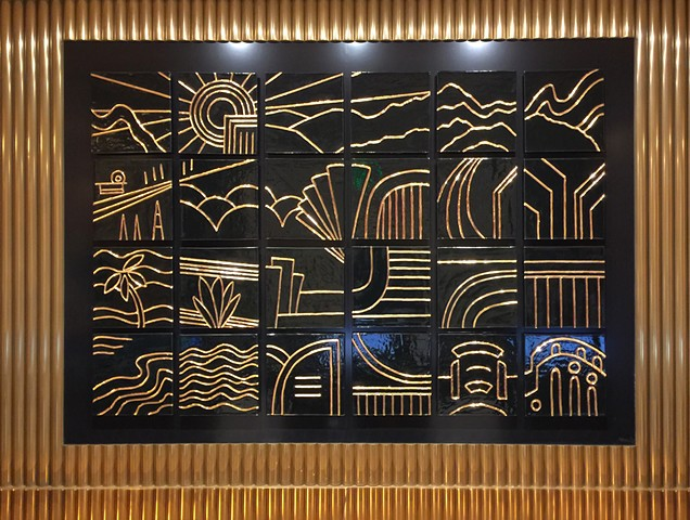 Waldorf Astoria Beverly Hills Hotel tile mural commission corporate