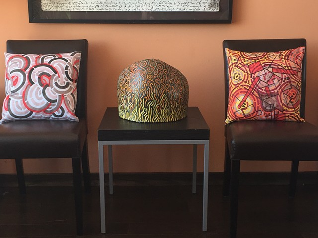 Sculpture and Artist Deigned Pillows