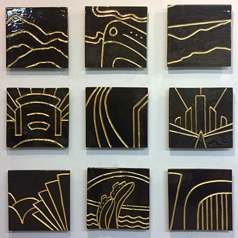 "Deco - 9 12""x12""carved tiles"