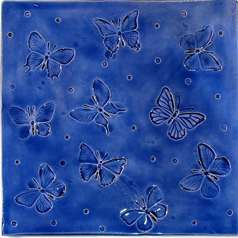 SOLD - Butterflies 12x12 Aegean Blue