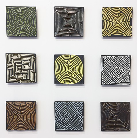 maze labyrinth tile wall art ceramic mural