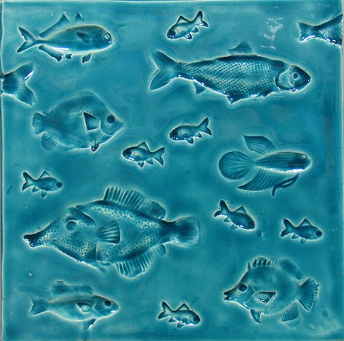 SOLD Fish Caribbean Blue 8x8