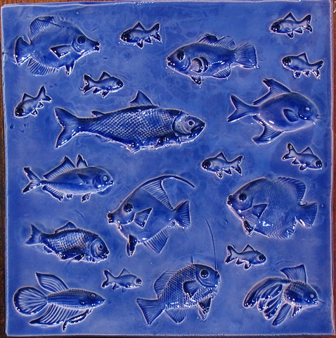 "SOLD Aegean Blue Fish 8""x8"""