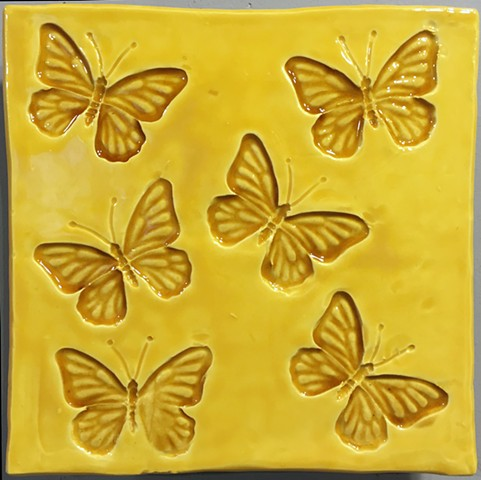 "Buterflies yellow 8""x8"""