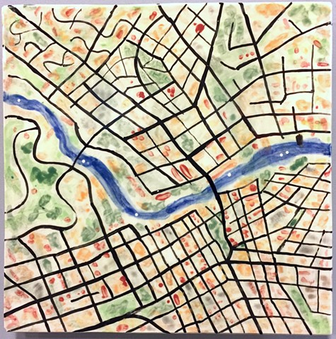 map drawing ceramic tile wall art