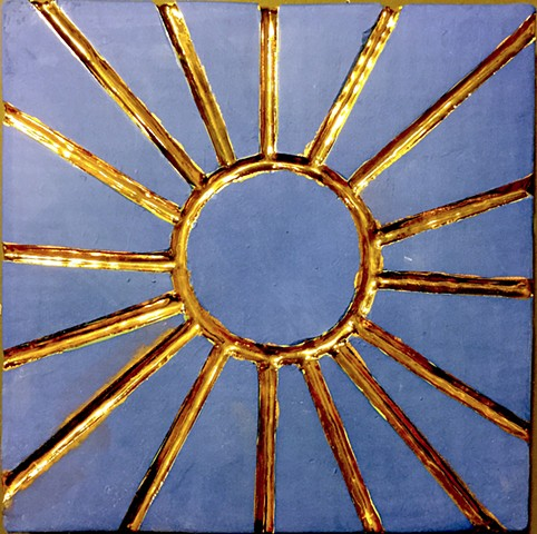 blue gold sun ceramic tile wall art