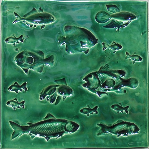 "Fish sea green 8""x8"""