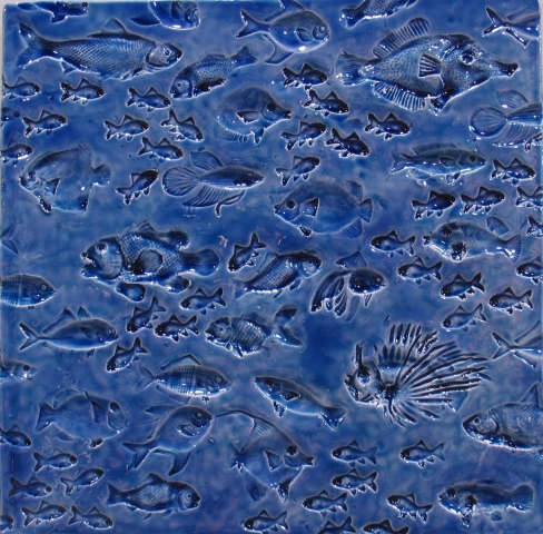 "SOLD Fish - blue glaze -12""sq."