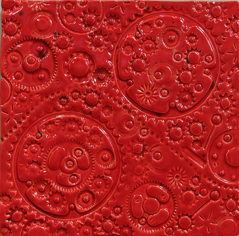 "SOLD Gears - Strawberry Red 12""x12"""