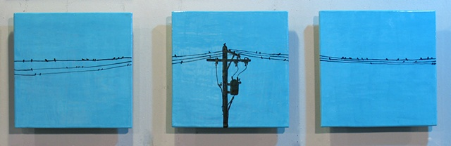 "SOLD Birds On The Wire, 3 12""x12"" Tiles"