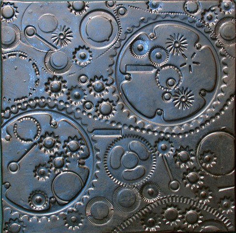 "SOLD Pewter Gears 12""x12"" 2014"