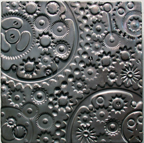 "Pewter Gears 8""x8"" tile"