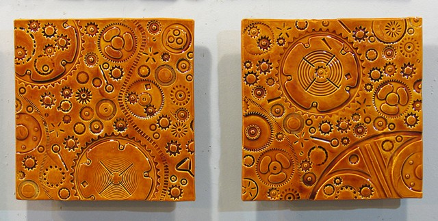 "SOLD Amber Gears - 2 12""x12"" tiles"