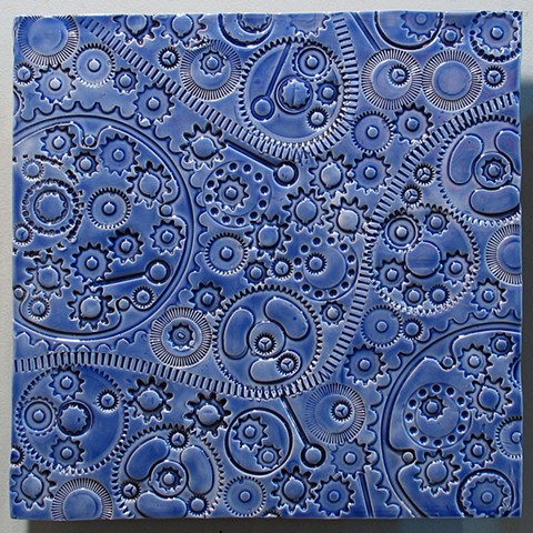 SOLD Gears Aegean Blue 12x12