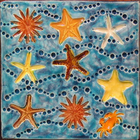 "SOLD Colorful Starfish 8""x8"""