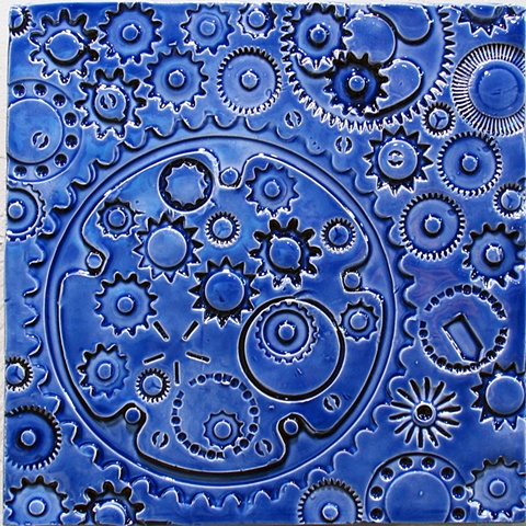 "SOLD Agean Blue Gears 8""x8"" tile"