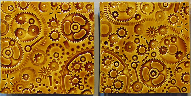 "Light Amber Gears 8""x16"""
