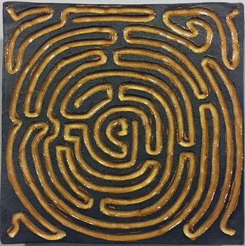 labyrinth maze carved tile wall art