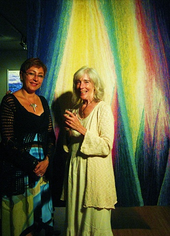 Here with Thoma Ewen behind her wonderful tapestry at the exhibition Fibres Boreales, at L'Espace Pierre-Debain