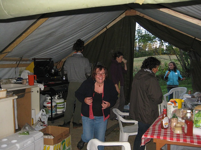 This is the gathering tent where we had our meals and shared valuable time with other artists who where camping on site.