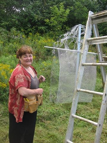 Dr.Hope Maclean preparing her Star Girl sculpture