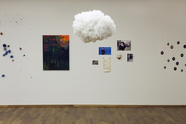 """Cloud"", 2014  poly-fil & fishing line  Fulbright Alumnae Exhibition"
