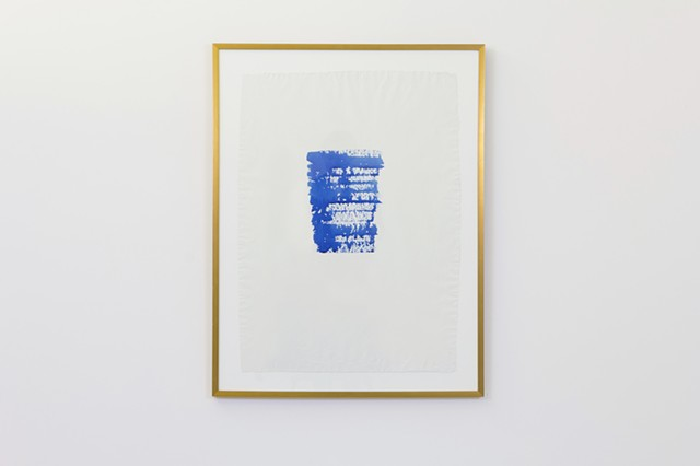 """Airplane Window"", 2014  blue ink on paper  Fulbright Alumnae Exhibition"