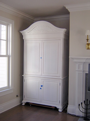 Colonial Style white entertainment center built-in
