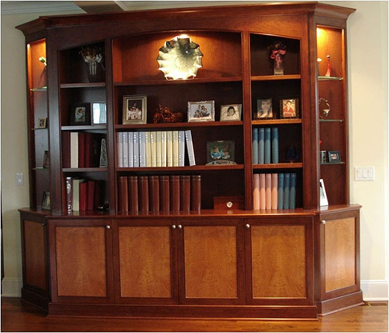 Cherry Wall Unit with Curly Maple Panels