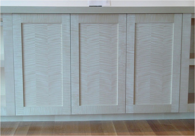 Close-up Quarter Sawn White Oak Entertainment center.