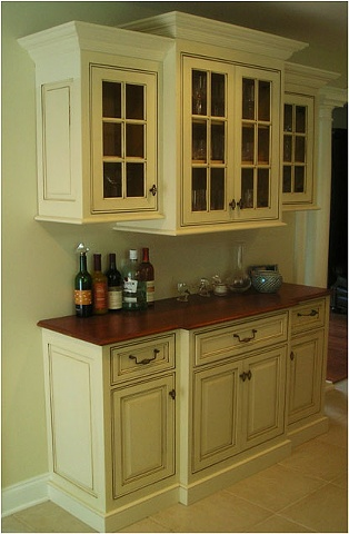 Dry Bar in white classical style kitchen.