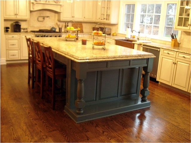Island and Cabinetry in French country style Kitchen.
