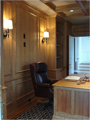 Cherry Paneling and Built-ins and Coffered Ceiling for Library