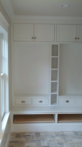 Mudroom, View 3, Built using FSC certified material for a LEED project.