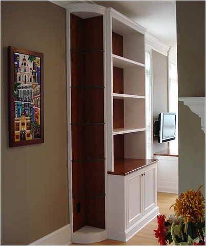 Cherry Corner Built-in with glass shelves