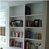 Bookcase cabinet with wainscot.