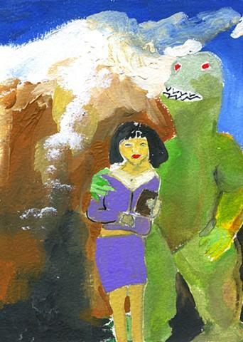 Godzilla with purple lady