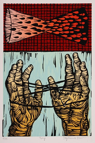 linocut, hands, cats cradle, hourglass