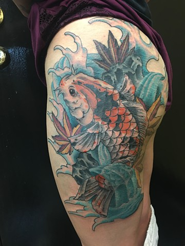 cat's crazy koi fish thigh piece