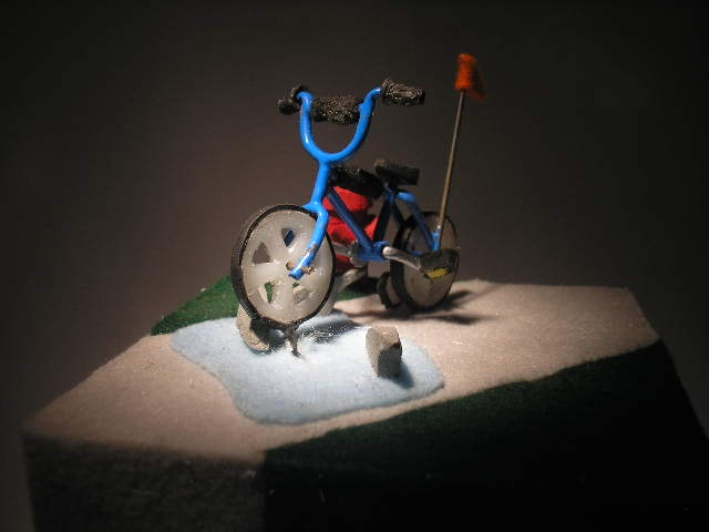 training wheels art sculpture kinetic sharks bikes