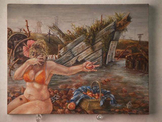 DNNELSON duncan noell nelson painting art miniature peaches beach bricks wreck derelict shipwreck destroyed abandoned