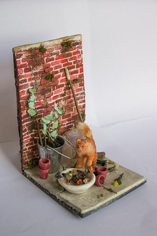 miniatures, cat, figurines