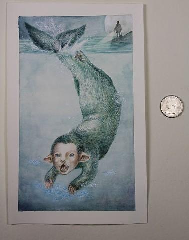 watercolour, gouache, mermaid, children's book