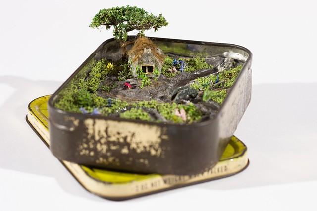 miniatures, english countryside, polymer clay, resin, flowers, rain