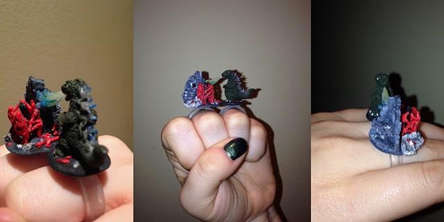 Godzilla, ring, polymer clay, miniatures