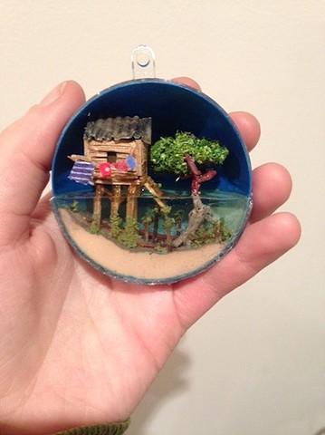 miniatures, ornament, polymer clay, resin, mangrove swamp