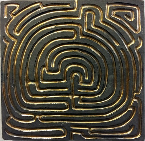 Jason Messinger porcelain tile modular art mural of labyrinth maze design